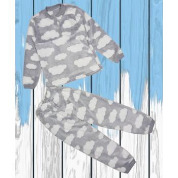 Теплая пижама Велсофт Серо-молочная 116 размеры на ребенка  5 - 6 лет