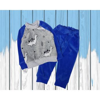 Пижама велюровая Дино Синяя для мальчика 80 - 92 размеры 1 - 2 года