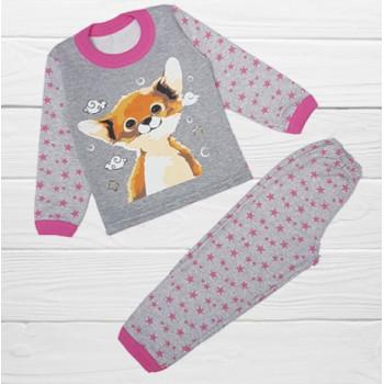 Теплая пижама Лисенок Серо-розовая Начес 116 размер на девочку 6 лет