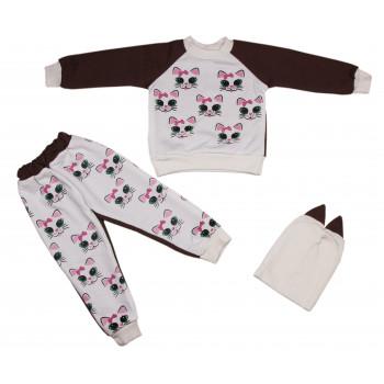 Комплект (кофта + штаны) Кошечка Коричневый Капитон 92 размера для девочки