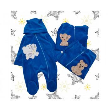 Велюровый комбинезон 62 размеры Синий для малышей до года