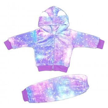 Теплый из велсофта комплект одежды для девочек Космос. Размеры 74 86 92