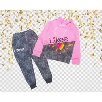 Спортивный костюм Likee Двунитка 98 104 размеры Серо-розовый для девочек