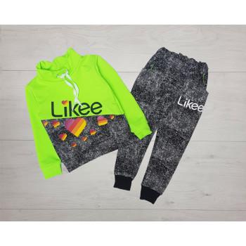 Спортивный костюм Likee Двунитка 98 104 размеры Серо-салатовый для девочек