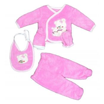 Теплый из велсофта набор 5 ка на выписку из роддома новорожденной девочки Мишка