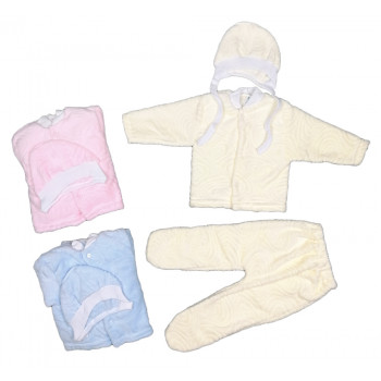 Теплые (ткань велсофт) комплекты для новорожденных цветные