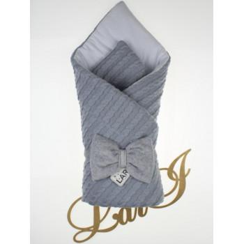 Демисезонный вязаный конверт-одеяло Серый в роддом на выписку новорожденного ребенка