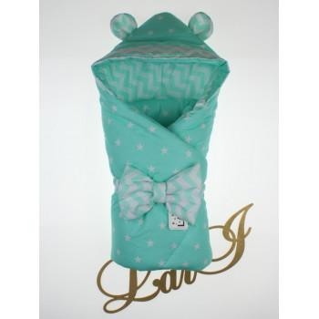 Демисезонный конверт-одеяло с капюшоном Микки Бирюзовый в роддом на выписку для новорожденных
