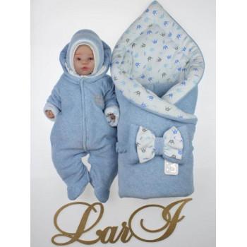 Демисезонный велюровый набор Голубой Меланж на выписку новорожденного мальчика из роддома