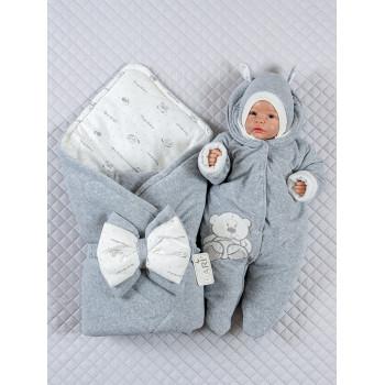 Демисезонный велюровый набор Серый Меланж на выписку новорожденного из роддома