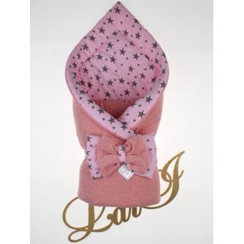 Демисезонный велюровый конверт-одеяло Звезды в роддом на выписку новорожденной девочке