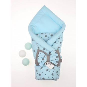 Демисезонный конверт-одеяло Звездопад Голубой в роддом на выписку для новорожденного мальчика