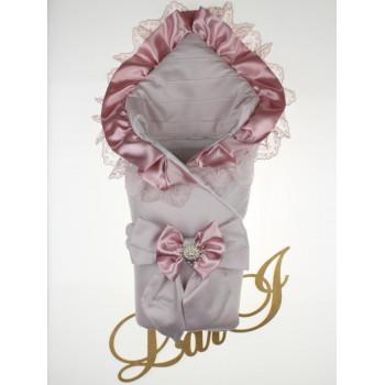 Демисезонный конверт-одеяло с кружевом Милена Серый в роддом на выписку новорожденной девочке