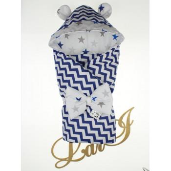 Демисезонный конверт-одеяло с капюшоном ушками в роддом на выписку для новорожденного мальчика