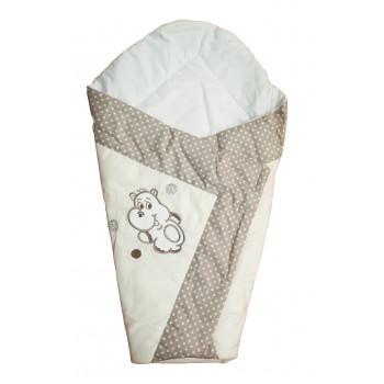 """Одеяло-конверт для новорожденного на лето """"Бегемотик"""". Размер: одеяла 80*80 см."""