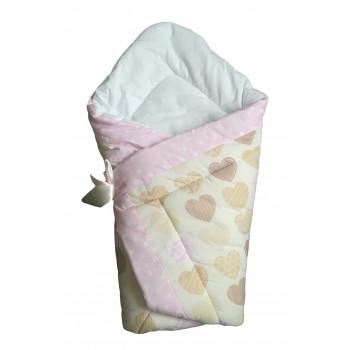 """Демисезонный конверты-одеяло на выписку новорожденной девочки """"Сердечка"""". Размер 90*90 см"""
