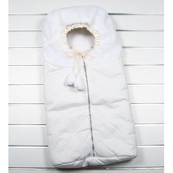Зимний белый конверт на молнии на выписку из роддома новорожденного ребенка