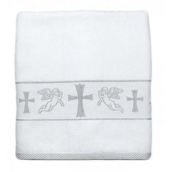 Крестильное полотенце с ангелочками и крестом вышитым серебряной ниточкой. Размер: 70*140 см