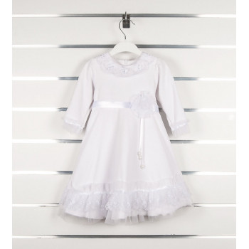 Велюровое крестильное белое платье на девочку 3 6 9 месяцев Рози