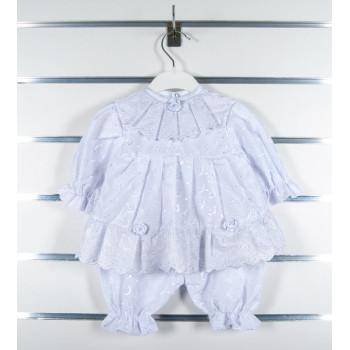Крестильный набор (платье с бриджами) на новорожденную девочку