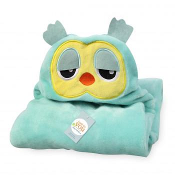 """Детское полотенце плед с капюшоном """"Сова"""". Материал: велсофт. Размер: 76*102 см Производитель: Китай"""