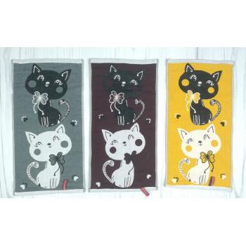 Кухонные полотенца из льна с котами. Размеры - 0,25*0,50 см