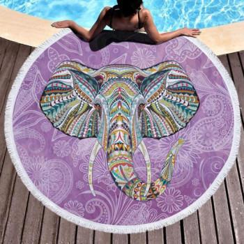 Пляжное покрывало круглое Слон