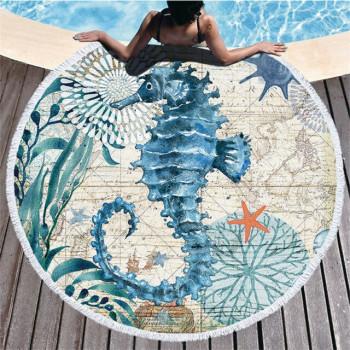 Пляжное круглое покрывало Морской Конек