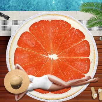 Пляжное круглое покрывало Грейпфрут