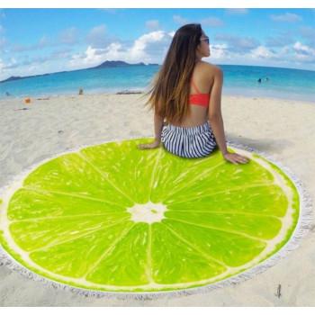 Пляжное круглое покрывало Лимон