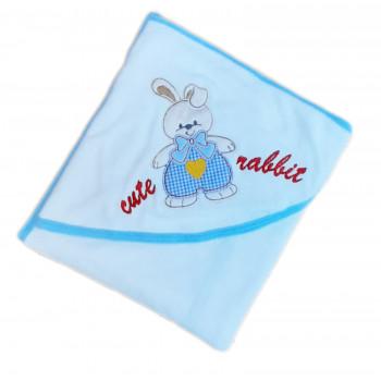 Детские полотенца для купания с капюшоном. Размер 90*90 см. Кролик