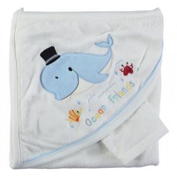 Полотенце с уголком для мальчика Baby Line 80*85 см Махровое