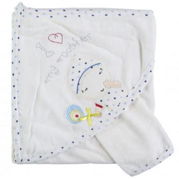 Детское полотенце махровое Baby Line Уголок 80*85 см Молочный + голубой