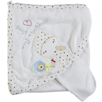 Детское полотенце махровое Baby Line Уголок для купания 80*85 см Молочный + Кофейный