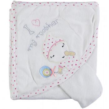 Детское полотенце махровое Baby Line Уголок 80*85 см Молочный + Розовый