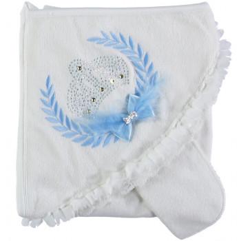 Детское нарядное полотенце махровое с капюшоном Baby Line 80*85 см