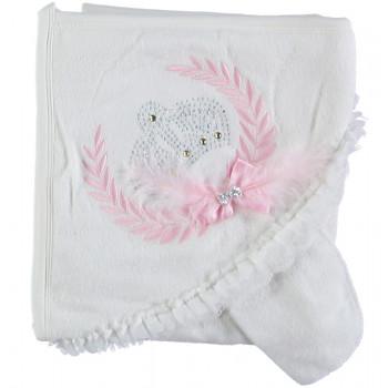 Махровое полотенце с капюшоном для девочек Baby Line 80*85 см