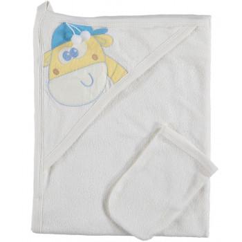 Детское полотенце с варежкой STORYBABY Уголок Молочный 70*90 см