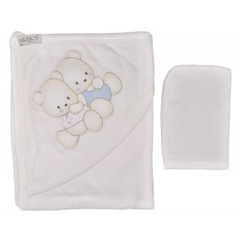 Детское махровое полотенце 80*80 см с уголком для купания + варежка