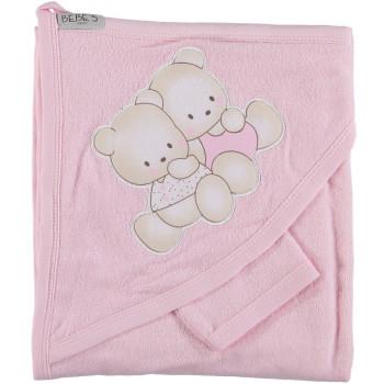 Полотенце Bebe`s 80*80 см Махровый детский уголок для купания девочки
