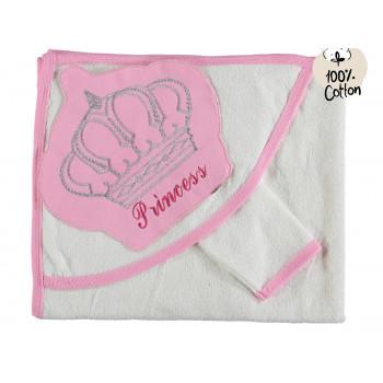 Махровое полотенце с капюшоном для новорожденной девочке