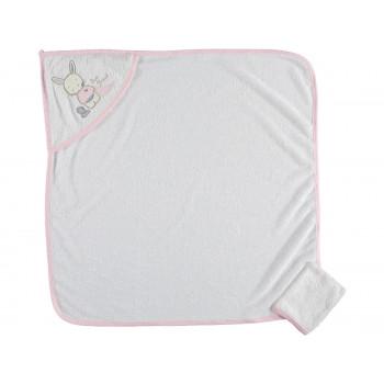 Полотенце уголок Bomdia 80*80 см Махровое Молочный с розовым для девочек