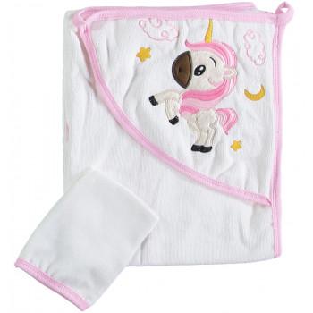 Полотенце махровое детское Misimosi 80*80 см Молочный + Розовый