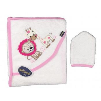 Махровое детское полотенце с вышивкой на капюшоне львенка и жирафа