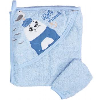 Детское махровое полотенце Misimosi 80*80 см с капюшоном голубое