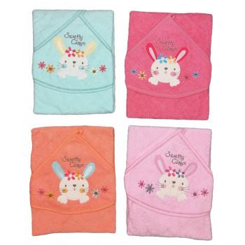 Махровые полотенца для новорожденных девочек Зайка Размер 80*80 см