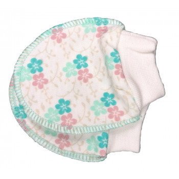 Царапки с бирюзовыми цветочками для новорожденных