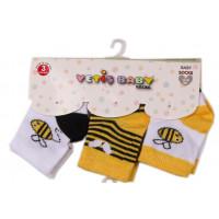 Набор тонких носочков Yetis Пчелка Желтые (3 шт) для новорожденных