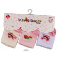Набор (3 пары) тонких носочков Yetis Зайка Розовые для новорожденных девочек