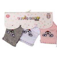 Набор (3 пары) тонких носочков Yetis Зайка Розовые Серые Белые для новорожденных девочек
